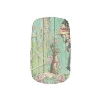 Vintage Painted Rustic Easter Rabbit Scene Nail Stickers