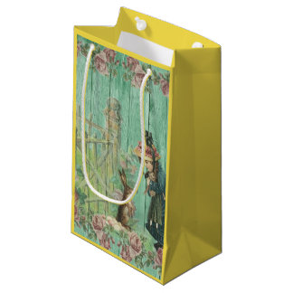 Vintage Painted Rustic Easter Rabbit Scene Small Gift Bag