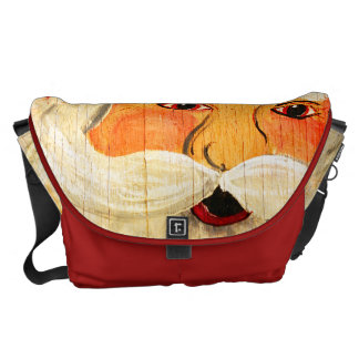 Vintage Painted Santa Clause Face Weathered Courier Bags