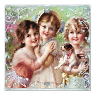 Vintage Painted Sisters Flat Card Proverbs 3:17