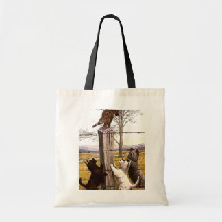 vintage painted terriers and bobcat tote bag