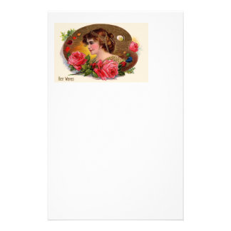 Vintage Painter's Palette And Roses Custom Stationery