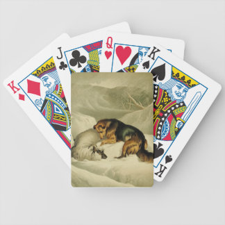Vintage Painting: German Shepherd in the Snow Bicycle Playing Cards