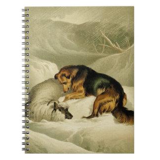 Vintage Painting: German Shepherd in the Snow Spiral Note Book