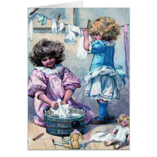 Vintage painting girls washing clothes laundry day card
