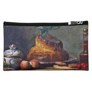 Vintage Painting of a Brioche by Chardin Cosmetic Bags