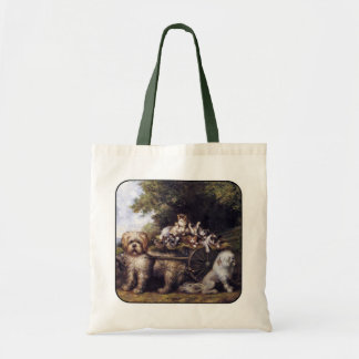 Vintage Painting of Dogs & Cars Touring Provence Tote Bags