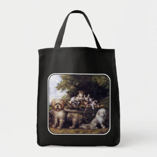 Vintage Painting of Dogs & Cats Touring Provence Grocery Tote Bag