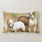 Vintage Painting of English Bulldogs Lumbar Pillow