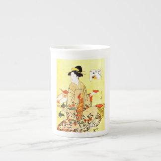 Vintage Painting Of Japanese Woman Serving Tea Tea Cup