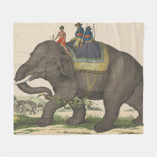 Vintage Painting of Men Riding an Elephant Fleece Blanket