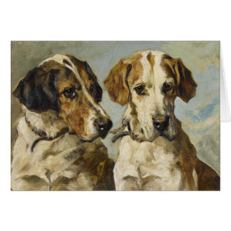 Vintage - Pair of Foxhound Dogs, Card
