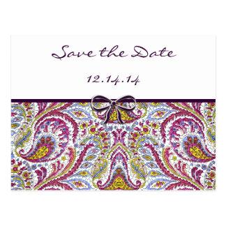 Vintage Paisley Save The Date Postcard