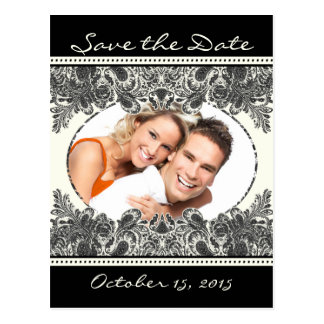 Vintage Paisley Save The Date with Your Photos Postcard