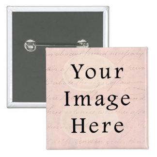 Vintage Pale Pink Rose Script Text Parchment Paper 2 Inch Square Button