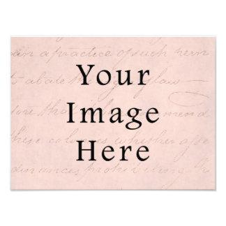 Vintage Pale Pink Rose Script Text Parchment Paper Photo Art