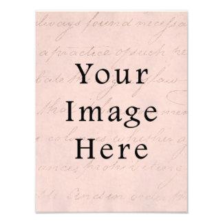 Vintage Pale Pink Rose Script Text Parchment Paper Art Photo
