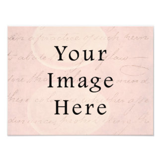 Vintage Pale Pink Rose Script Text Parchment Paper Photographic Print