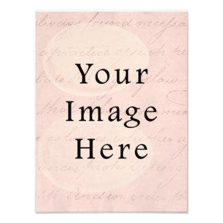 Vintage Pale Pink Rose Script Text Parchment Paper Photograph