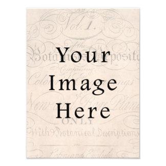 Vintage Pale Rose Pink Script Text Parchment Paper Art Photo