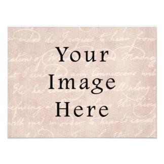 Vintage Pale Rose Pink Script Text Parchment Paper Photographic Print