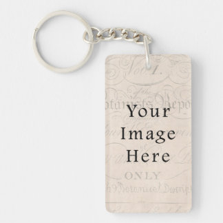 Vintage Pale Rose Pink Script Text Parchment Paper Single-Sided Rectangular Acrylic Keychain