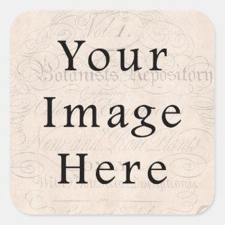 Vintage Pale Rose Pink Script Text Parchment Paper Square Sticker