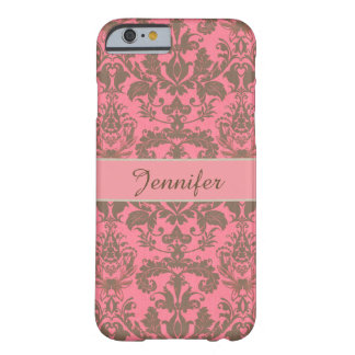 Vintage, pale violet red & sand brown Damask name Barely There iPhone 6 Case
