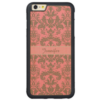 Vintage, pale violet red & sand brown Damask name Carved Maple iPhone 6 Plus Bumper Case