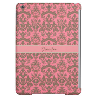 Vintage, pale violet red & sand brown Damask name Case For iPad Air