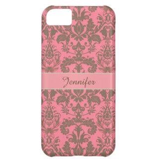 Vintage, pale violet red & sand brown Damask name Case-Mate iPhone Case