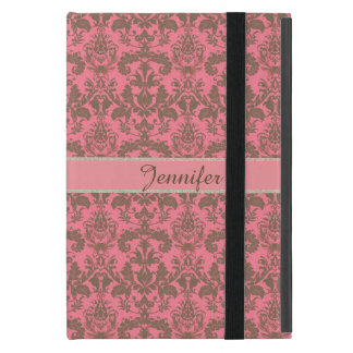 Vintage, pale violet red & sand brown Damask name Cover For iPad Mini