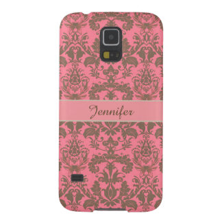 Vintage, pale violet red & sand brown Damask name Galaxy S5 Case