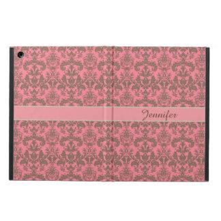 Vintage, pale violet red & sand brown Damask name iPad Air Case
