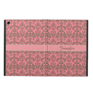Vintage, pale violet red & sand brown Damask name iPad Air Cover