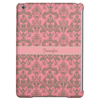 Vintage, pale violet red & sand brown Damask name iPad Air Covers