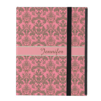 Vintage, pale violet red & sand brown Damask name iPad Cover