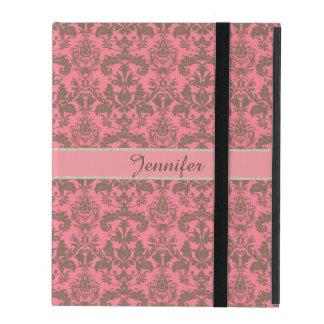Vintage, pale violet red & sand brown Damask name iPad Folio Case