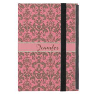 Vintage, pale violet red & sand brown Damask name iPad Mini Case