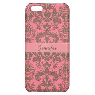 Vintage, pale violet red & sand brown Damask name iPhone 5C Cover