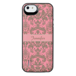 Vintage, pale violet red & sand brown Damask name iPhone SE/5/5s Battery Case