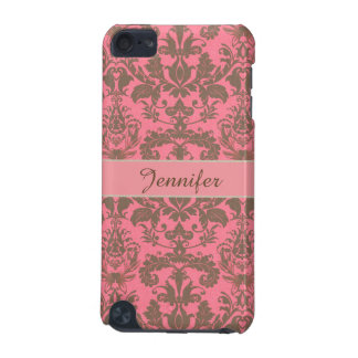 Vintage, pale violet red & sand brown Damask name iPod Touch 5G Cover