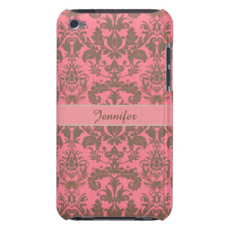 Vintage, pale violet red & sand brown Damask name iPod Touch Case-Mate Case