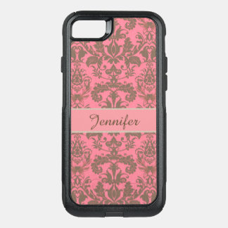 Vintage, pale violet red & sand brown Damask name OtterBox Commuter iPhone 7 Case
