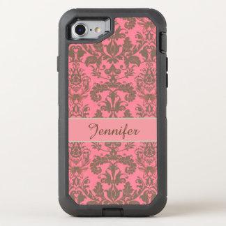 Vintage, pale violet red & sand brown Damask name OtterBox Defender iPhone 7 Case