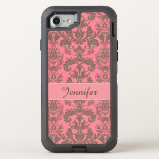 Vintage, pale violet red & sand brown Damask name OtterBox Defender iPhone 8/7 Case