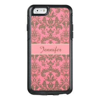 Vintage, pale violet red & sand brown Damask name OtterBox iPhone 6/6s Case