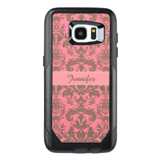 Vintage, pale violet red & sand brown Damask name OtterBox Samsung Galaxy S7 Edge Case