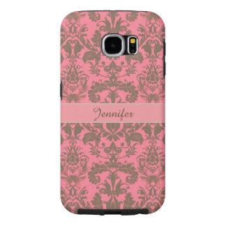Vintage, pale violet red & sand brown Damask name Samsung Galaxy S6 Cases