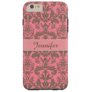 Vintage, pale violet red & sand brown Damask name Tough iPhone 6 Plus Case